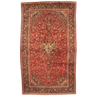 Herat Oriental Persian Hand Knotted 1960s Semi Antique Kashan Wool Rug 9