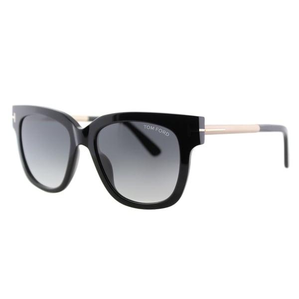b9ca6bb425 Shop Tom Ford Tracy TF 436 01B Black Square Plastic Sunglasses ...