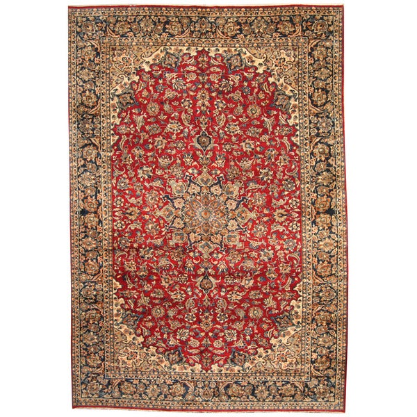 Herat Oriental Persian Hand-knotted 1960s Semi-antique Isfahan Wool Rug (10'2 x 15')