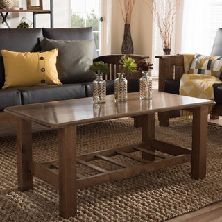 Baxton Studio Callidora Modern Classic Mission Style Walnut Wood Coffee Table