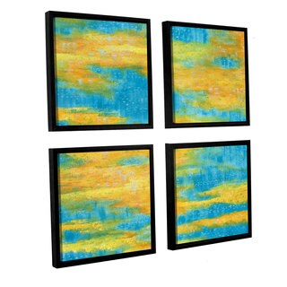 ArtWall Herb Dickinson's 'Clearwater' 4-piece Floater Framed Canvas Sqare Set