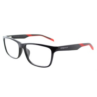 TAG Heuer TAG 553 006 Shiny Black Red Plastic Rectangle 57mm Eyeglasses