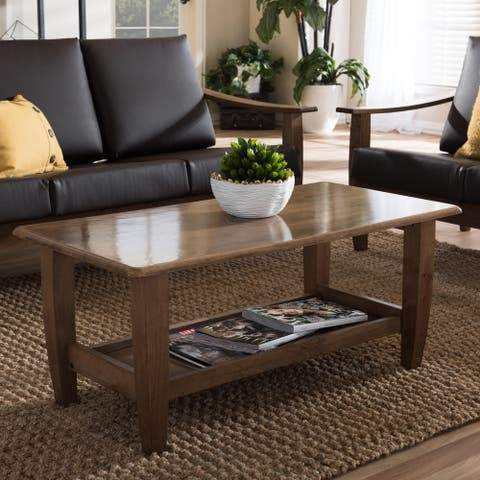 Baxton Studio Phanessa Mid-century Modern Walnut Finished Wood Coffee Table