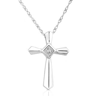 Annello by Kobelli 14k White Gold Diamond Cross Pendant