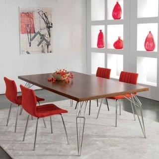 Saloom 94-inch LEM Black Walnut Dining Table with Chrome Finish
