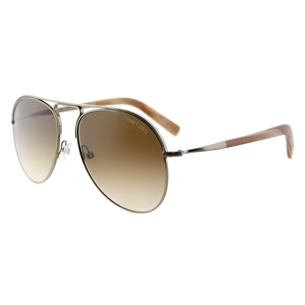 32ebe1ea4610a Shop Tom Ford Cody TF 448 33F Antiqued Gold Aviator Metal Sunglasses ...