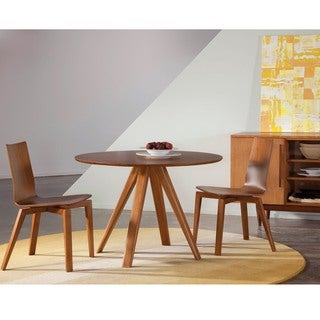 Saloom Avon 54 Round Maple Smooth Top Dining Table in Flax Finish