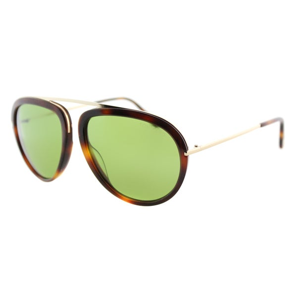 02ff41dc8462c Shop Tom Ford Stacy TF 452 56N Havana Aviator Plastic Sunglasses ...