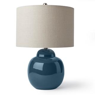 Indigo and Linen Ceramic Table Lamp