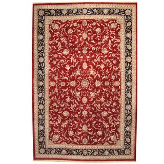 Herat Oriental Indo Persian Hand-knotted Kashan Wool Rug (12' x 18'3)