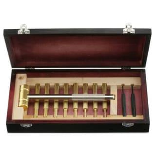 11pc Brass Hammer & Brass/Steel Punch Tool Set w/Cherry Wood Case(ha45)