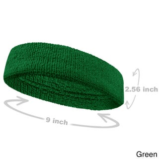 COUVER Premium Quality Large Basketball Terry Cloth Head sweatband(1 Piece) (Option: Green - Cotton - Solid)