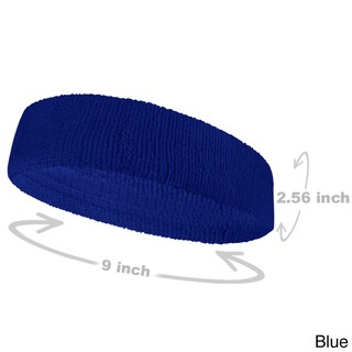 COUVER Premium Quality Large Basketball Terry Cloth Head sweatband(1 Piece) (Option: Blue - Cotton - Solid)
