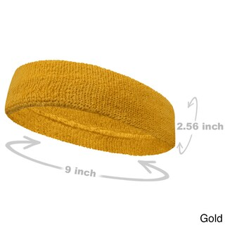 COUVER Premium Quality Large Basketball Terry Cloth Head sweatband(1 Piece) (Option: Gold - Cotton - Solid)