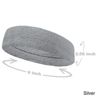 COUVER Premium Quality Large Basketball Terry Cloth Head sweatband(1 Piece) (Option: Silver - Cotton - Solid)