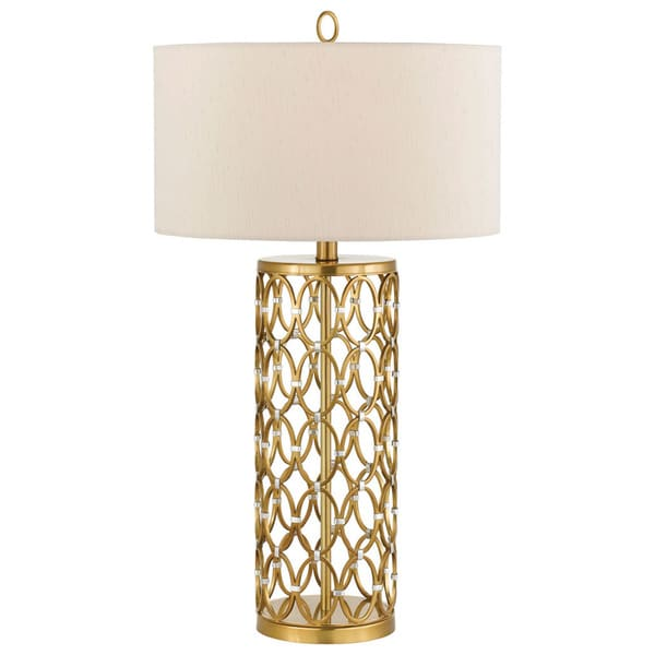 cosmo table lamp satin brass free shipping today overstock 18468202. Black Bedroom Furniture Sets. Home Design Ideas