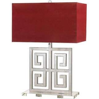AF Lighting 8269-TL Santorini Table Lamp- Silver with Red Shade