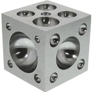 """Dapping Block  with Polished Stainless Steel Cavities, 2 x 2 x 2"""" (da10)"""