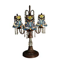 Tierra 3-light Blue 23-inch Tiffany-style with Crystals Table Lamp