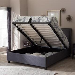 fabric storage platform bed by baxton studio