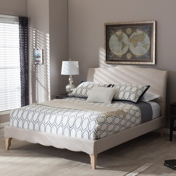 Maison Rouge Adrian French Classic Modern Style Beige Mix Linen Fabric Platform Bed