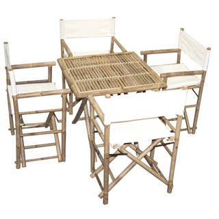 Handmade Bamboo54 Bistro Square Table and 4 Director's Chairs Set (Vietnam) (Option: Black)