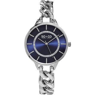SO&CO New York Women's SoHo Stainless Steel Crystal Link Bracelet Quartz Watch