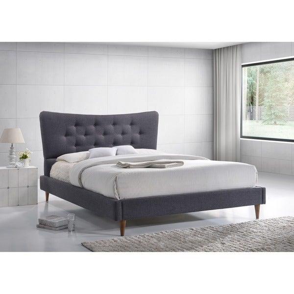 Mid Century Modern Bed: Baxton Studio Hermia Mid-century Modern Dark Grey Fabric