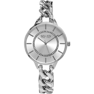 SO&CO Women's New York SoHo Stainless Steel Crystal Link Bracelet Quartz Watch