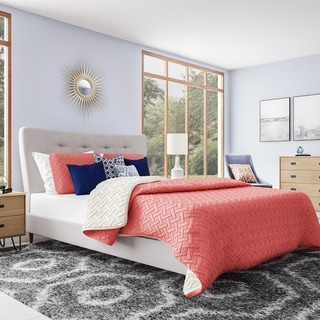 Baxton Studio Hermia Mid-century Modern Beige Linen Platform Bed
