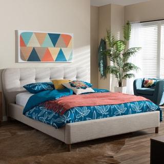 Baxton Studio Gennadios Mid-century Modern Beige Mix Linen Fabric Grid-tufting Platform Bed