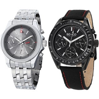 SO&CO New York Men's Quartz Stainless Steel Bracelet and Canvas Leather Strap Watch Set