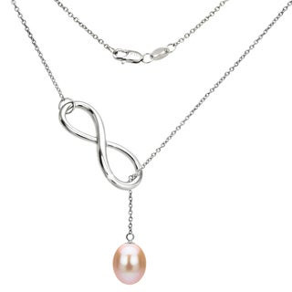 DaVonna Sterling Silver Pink Freshwater Pearl Infinity Pendant (8-9mm)