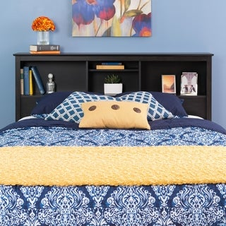 Broadway Washed Black Double/Queen Bookcase Headboard