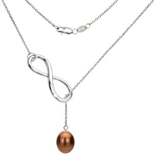DaVonna Sterling Silver Chocolate Freshwater Pearl Infinity Pendant (8-9mm)