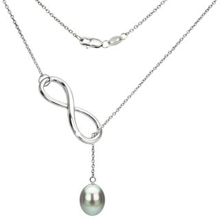 DaVonna Sterling Silver Grey Freshwater Pearl Infinity Pendant (8-9mm)