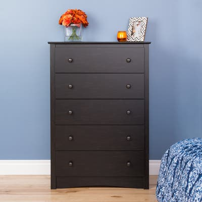 Copper Grove Periyar Washed Black 5-drawer Chest