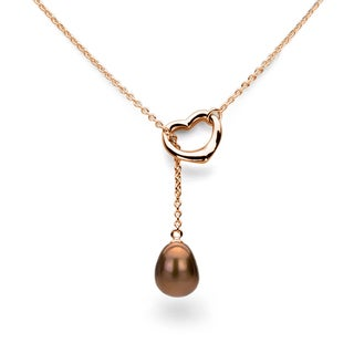 DaVonna Rose Gold over Sterling Silver Chain and Brown Freshwater Pearl Open-Heart Lariat Necklace (9-11 mm)