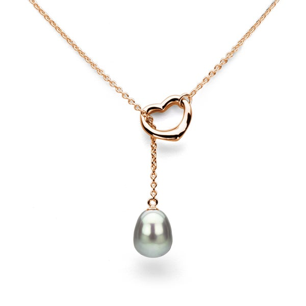 DaVonna Rose Gold over Sterling Silver Chain and Grey Freshwater Pearl Open-Heart Lariat Necklace (9-11 mm)