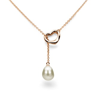 DaVonna Rose Gold over Sterling Silver Chain and White Freshwater Pearl Open-Heart Lariat Necklace (9-11 mm)