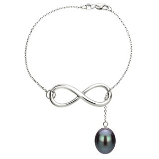 """DaVonna Sterling Silver Infinity Bracelet with 8-9mm Long Shape Freshwater Pearl, 7.5"""""""