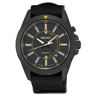 Seiko Men's SKA705 Stainless Steel Kinetic Watch with a Black Dial and 6 Month Power Reserve