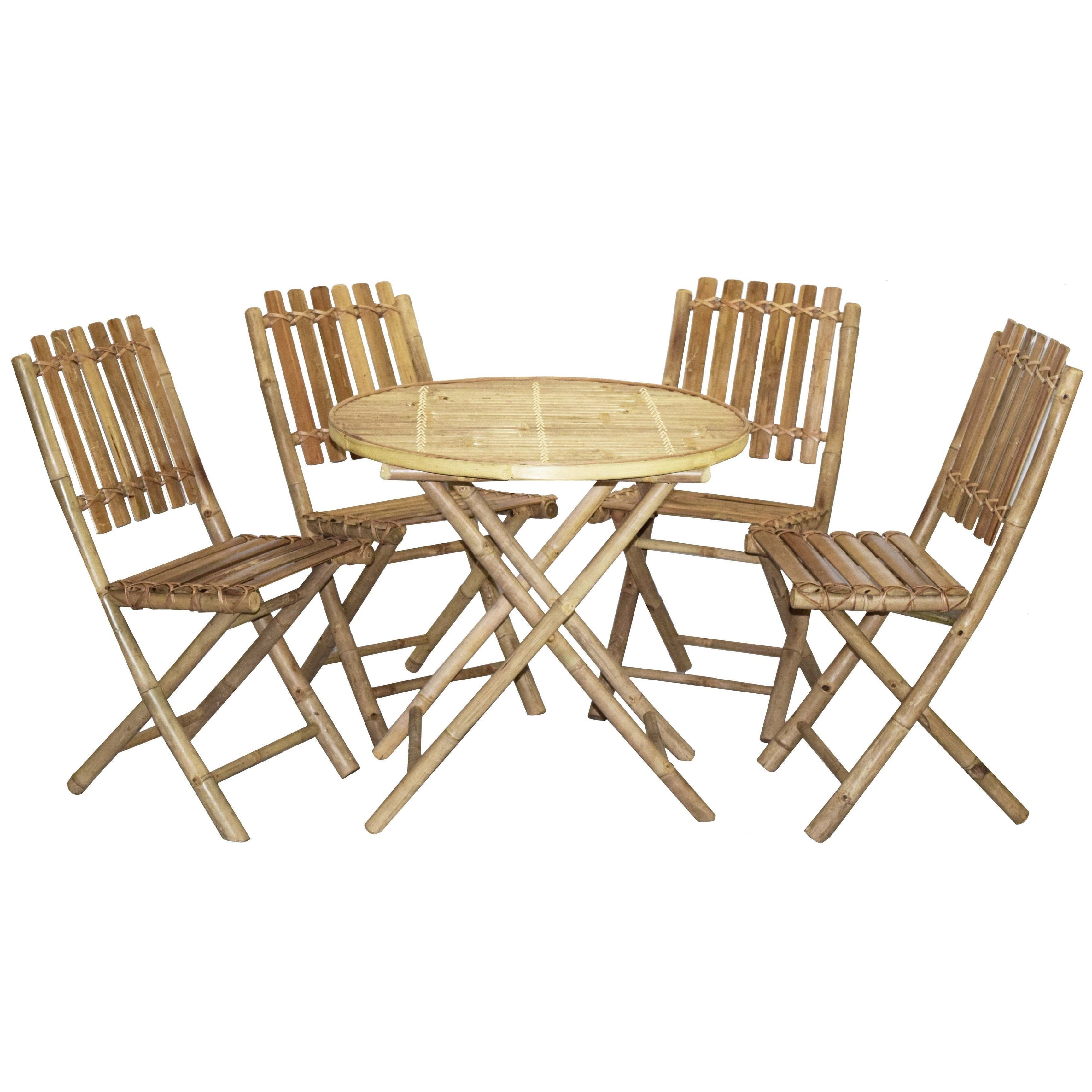 Handmade Bistro Bamboo Table and 4 Chairs Set (Vietnam) (...