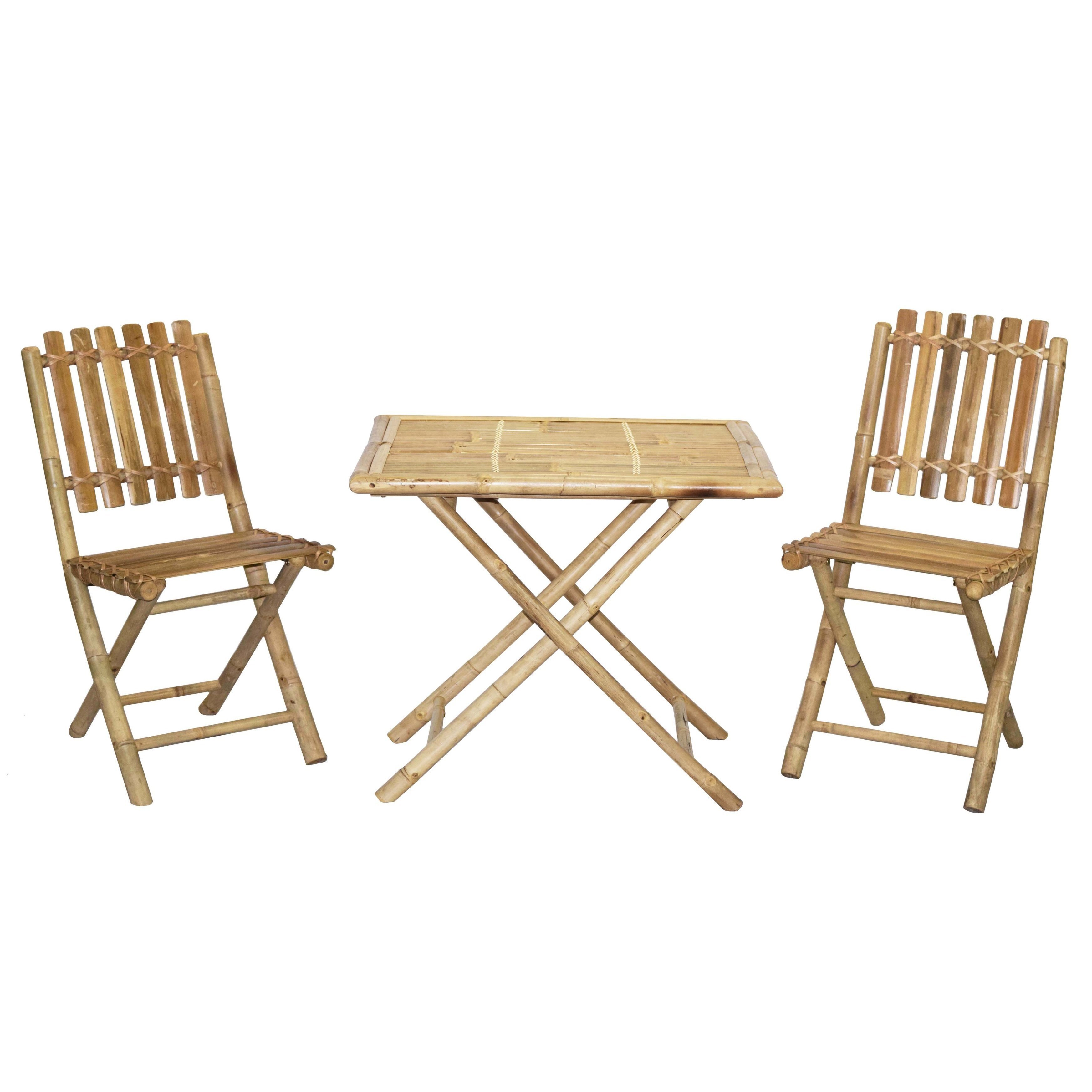 Hand-made Bistro Table Chair Set Bamboo Wooden Frame Natural Finish ...