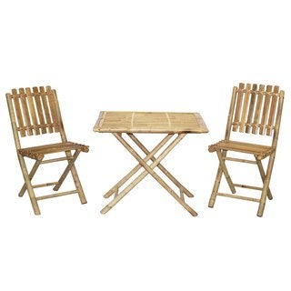 Handmade Bistro Bamboo Table and 2 Chairs Patio Set (Vietnam)