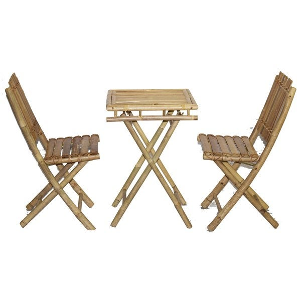 Handmade Bistro Small Bamboo Table and Chairs Set (Vietnam) - Free ...