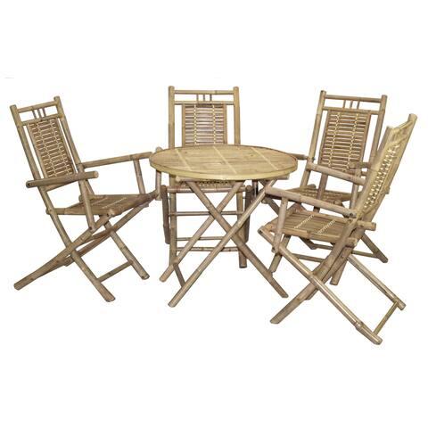 Handmade Bamboo54 Bistro Bamboo Table and 4 Armchair Set (Vietnam)