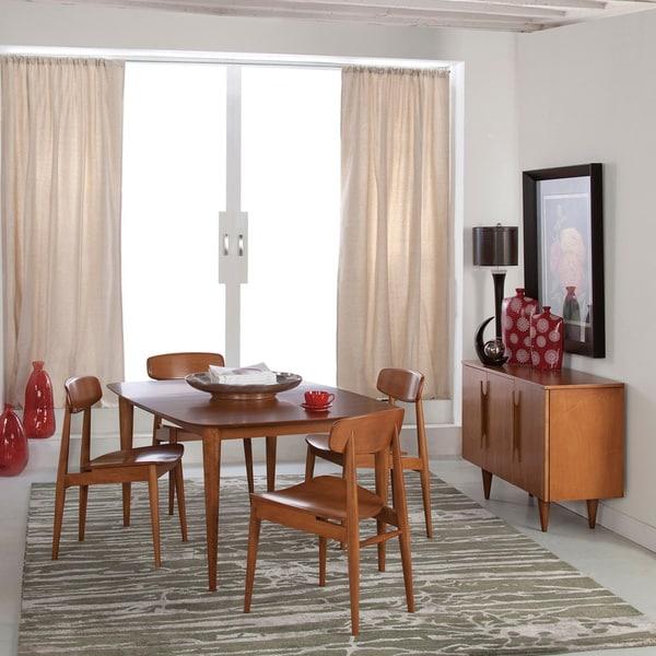 Saloom Cona 36 X 72 Rectangular Maple Strata Texture Top Custom Dining Table In Flax FinishSaloom