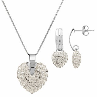 Rhodium-plated Puffed Heart Dangling Crystal Earrings and Necklace Set