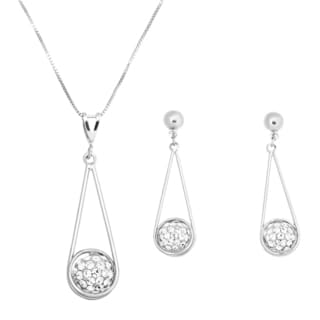 Rhodium-plated Brass Wire Teardrop Crystal Ball Dangling Earrings and Pendant Set